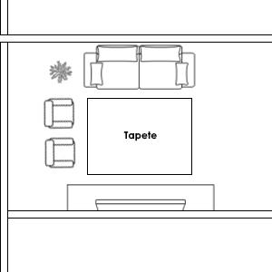Exemplo de Disposição de Tapete para Sala Pequena