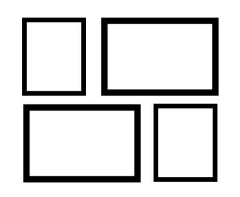 Exemplo de Montagem em Grade com Tamanhos Variados para decoração de parede